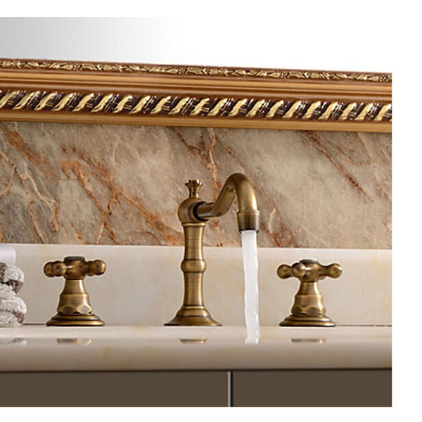 """Wholesale And Retail NEW Widespread 8"""" Sink Antique Brass Bathroom Basin Faucet Dual Handle Mixer Tap"""