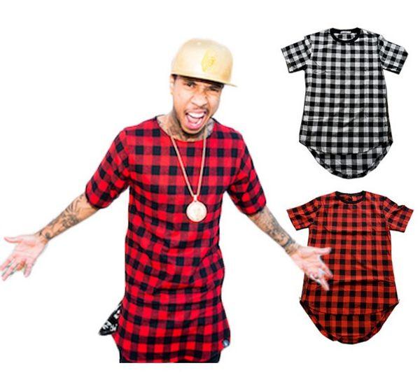 Al por mayor-Zipper Plaid Hip Hop camiseta hombres Star Look Hombre Hiphop Skakeboard Streetwear Swag T-shirt Tops Tees T-shirt Hombres Tyga Style