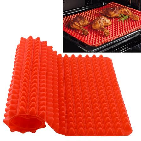 best selling Creative Useful Pyramid Pan Silicone Non Stick Fat Reducing Mat Microwave Oven Baking Tray Sheet Kitchen Tool