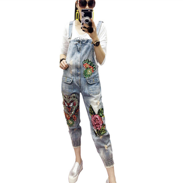 Patchwork Denim Jumpsuit Sexy Bodycon Sleeveless Full Body Feminino Elegant Button Rompers Womens Sequin Flowers Jumpsuit 2018