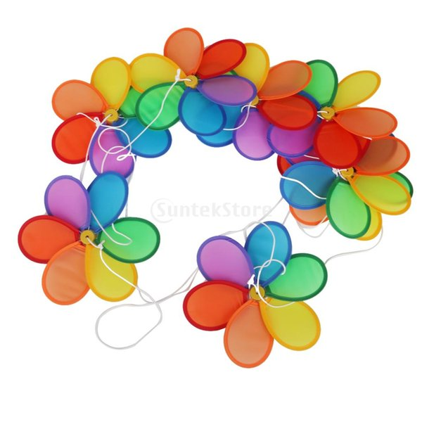 Wholesale-SPMART Flower Windmill Wind Spinner Tent Garden Decoration Multi Colors 8Pcs Free Shipping