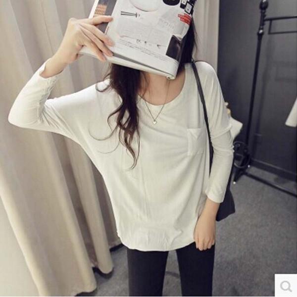 Donne coreane a maniche lunghe t-shirt ordini per conto della coreana modelli femminili autunno primer camicia a maniche lunghe stendibiancheria