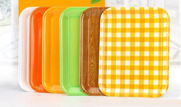 Pratos retangulares de utensílios de mesa de melamina Restaurante hotel fast food pão bolo bandeja de plástico Colorido partido melamina porcelana imitando prato
