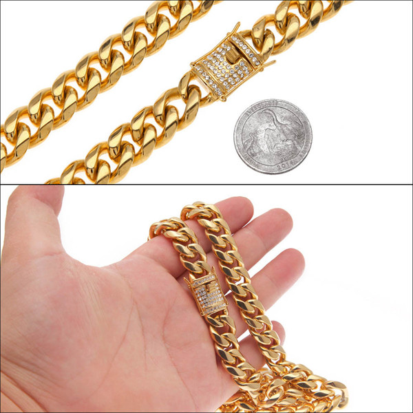 "Real 316L Stainless Steel 24K Solid Gold Electroplate Casting Clasp & Diamond Curb CUBAN LINK Necklace Men Chains Jewelry 30"" 14mm"