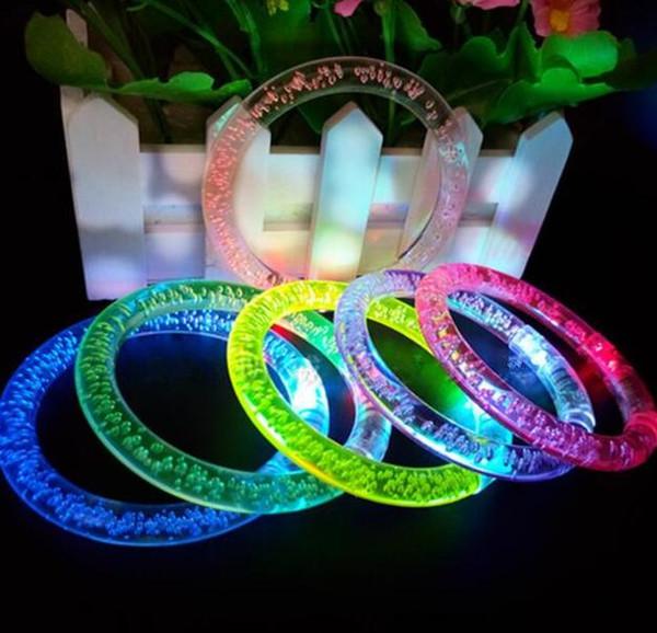 Braccialetto LED Flash Brillante Glow Light Hand Ring Sticks Luminoso Crystal Gradient Braccialetto colorato Stunning Dance Party Regalo di Natale