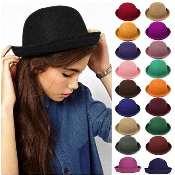 New Stingy Brim Hats Women Felt trilby wool felt hats Vintage Trendy Wool  Felt Cloche Bowler cfe94bf34b40