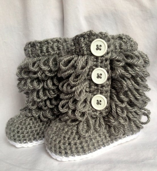 Baby cowboy cowgirl winter crochet knitted prewalker shoes snow booties first walker shoes newborn infant bo Girl Boots-Newborn to 12 Months
