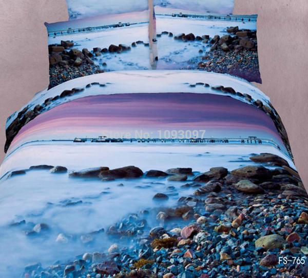 cotton king size bedding sets landscape print 3d bed cover sets wedding