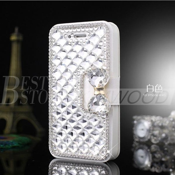 Per Iphone 6 plus 5 Samsung Galaxy S6 Nota 5 Luxury Fashion Diamond Cell Phone Cover con supporto di carta di credito Bling Pearl