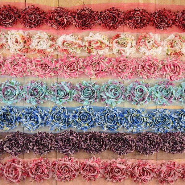 baby flower headbands new high-quality Leopard Print Chiffon Lace worn rose baby hairband birthday headband cheer bows 20 color mix order