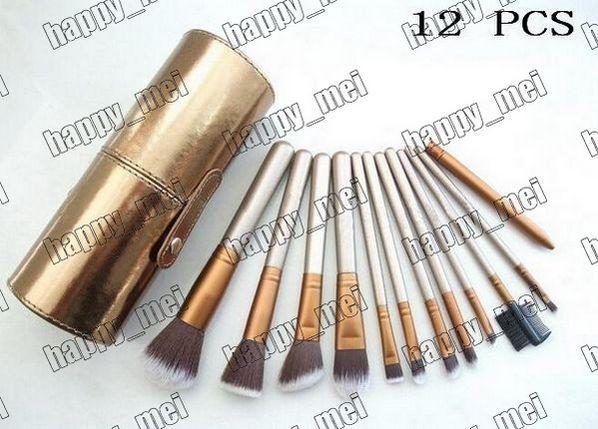 Directo de fábrica DHL envío gratis nuevo pinceles de maquillaje 12 piezas cepillo con funda de vaso de oro! 233