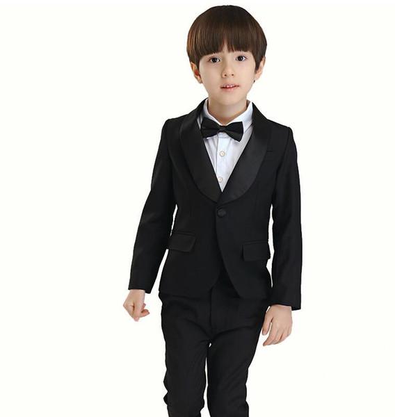 Children dress suit The boy leisure suit 2015 small white flower wedding suit formal occassion wear (Jacke+vest+Pants)