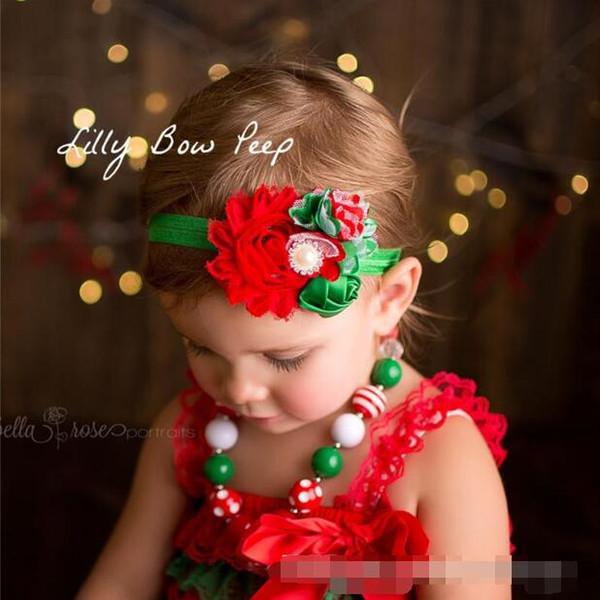 Baby Girls Headbands Shabby Fabric Hairbands Chiffon Lace Satin Hair Accessories Kids Children Elastic Rhinestone Pearl Headbands