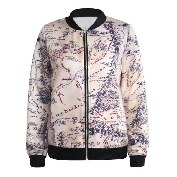 Wholesale Fashion Lord Jacket Middle Earth Map Punk Women Jacket 3D Floral  Print Heart Breaker Printed Casual Sweatshirt Free Drop Ship Leather Bomber  ...