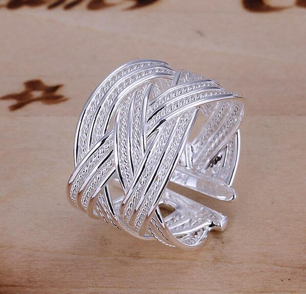 Free Shipping 925 Sterling Silver Ring Fine Fashion Big Net Weaving Silver Jewelry Ring Women&Men Gift Finger Rings EH289
