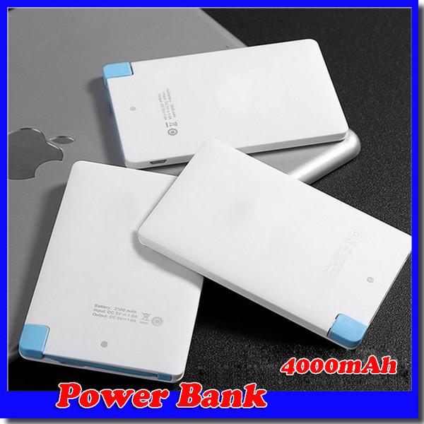 4000 mah Ultra Ince Kredi Kartı Güç Bankası USB Promosyon PowerBank Dahili USB Kablosu Yedekleme Acil