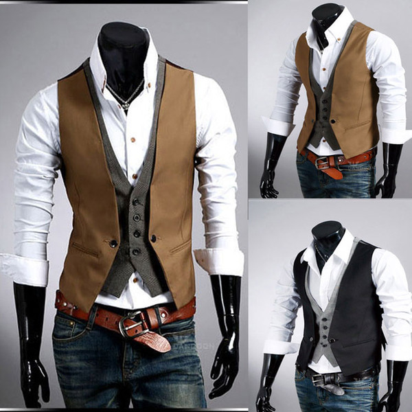 top popular Fashion New men's vest V-neck fake two piece blazer vest & waistcoat ,black,khaki,M L XL XXL Outerwear & Coats free shipping 2019