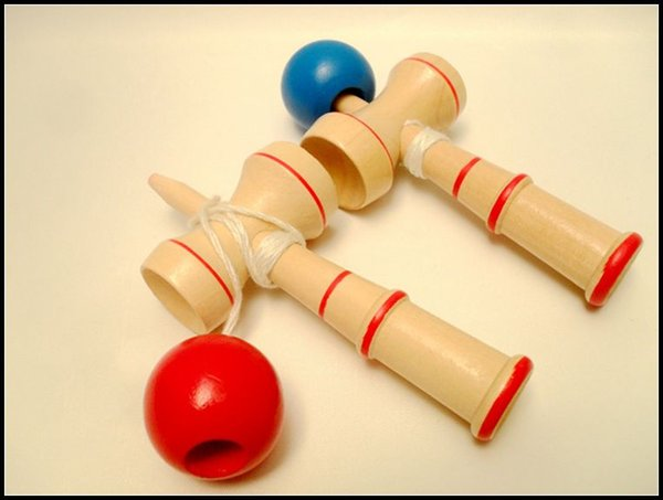 13CM small size Kendama Ball Japanese Traditional Wood Game Toy Education Gift red blue 2 Colors novelty toys gift J071503# DHL FREESHIP