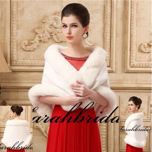 top popular New Faux Fur Bridal Shrug Wrap Cape Stole Shawl Bolero Jacket Coat Perfect For Winter Wedding Bride Bridesmaid Free Shipping Real Image 2019 2021