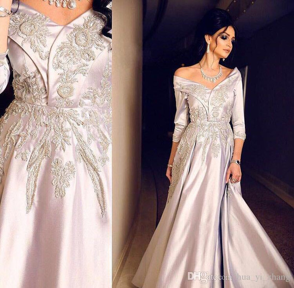 Silver A-line Evening Dresses with Portrait Neckline 3/4 Long Sleeve Floor Length V-Neck Beaded Applique Taffeta Middle East Prom Gowns
