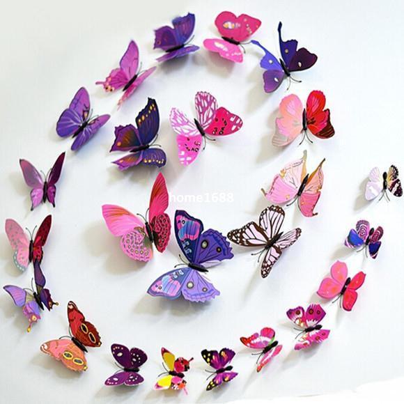 12 Stücke Kreative Bunte 3D Schmetterling Wandaufkleber Removable Home Dekore Kunst DIY Kunststoff Dekorationen Lila / Grün / Blau / Gelb