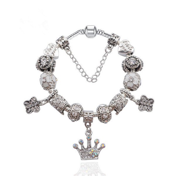 Newest Charm Bracelets Crystal Butterfly & Crown Dangle Charms Snake Chain Bangle Bracelets for Women BL039