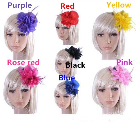 Lace Flower And Feather Headpieces Bride Wedding Hats Headdress Bridal Fascinator Accessories For Bridesmaid Prom Hair Accessorie Decoration