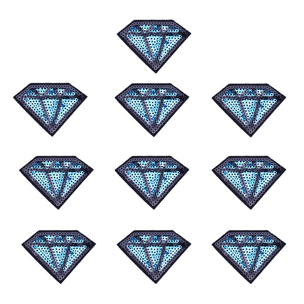 10PCS Sequined Diamond Patch for Clothing Bags Iron on Embroidery Patches for Jeans DIY Sew on Sequins