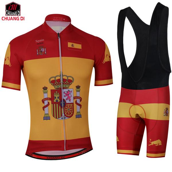 Drapeau national d'Espagne Ensembles de cyclisme Maillots respirants Maillots à séchage rapide GEL Pad vtt Mountain Ropa Ciclismo