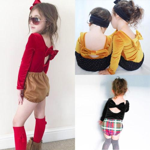 Fashion Baby Girl Rompers Warm Long Sleeve Velvet Jumpsuit Toddler Clothes Wine Red Backless Bowknot Baby Rompers Spring Autumn Clothing