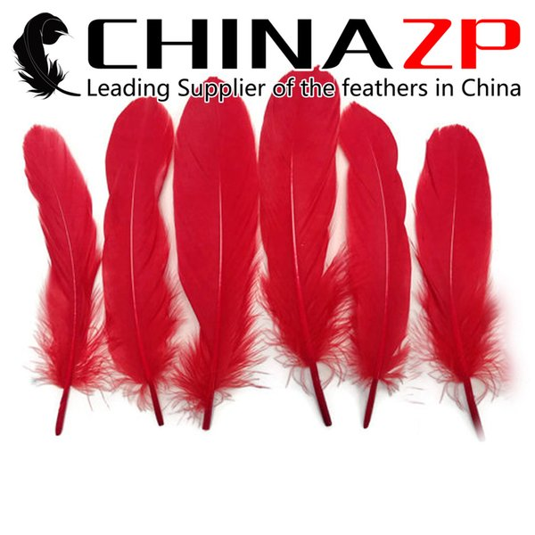 Leading Supplier CHINAZP Crafts Factory Length 10~15cm(4~6inch) Top Quality Dyed Red Loose Goose Feather for Fashion Dress Decorations