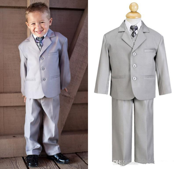 New Boys Kids Formal Occasion Little Men Light Grey Three Buttons Suits Notch Lapel Wedding Party