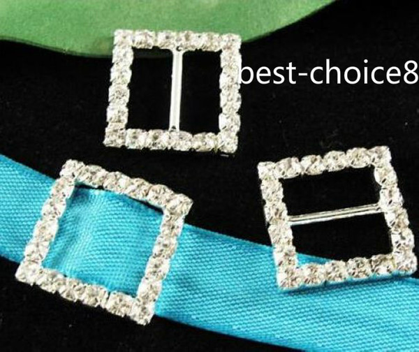 top popular Free Shipping 20MM 50Pcs HOT Silver Plated Crystal Rhinestone Ribbon Square Shaped Buckle Chair Slider Wedding Supplies Buckles Bar 2021