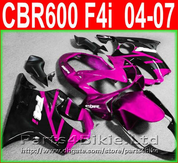 Hot sale for Honda CBR600 F4i fairing kit 2004-2007 pink black CBR 600 F4i 04 05 06 07 fairings injection molding bodywork SOXT