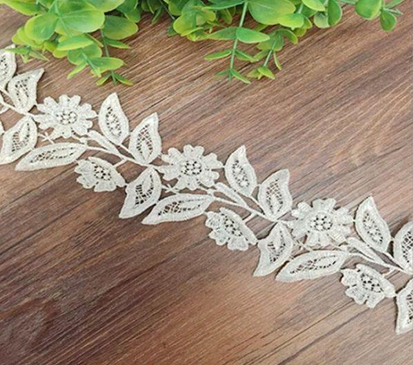 5 Yard White Hollow Leaf Flower Shape Lace Cotton Fabric Trim For Sewing DIY Bridal wedding Doll Cap