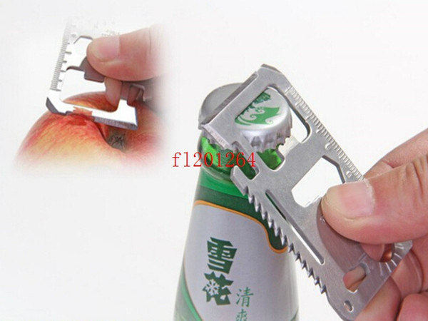 best selling Free Shipping Card size 11 in 1 Multifunction Tool Pocket Card Outdoor Camping Survival Knife With saw ruler opener 500pcs