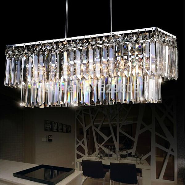 Lustre en cristal moderne gros-rectangle design pour salle à manger lustres e pendentes éclairage intérieur garanti 100%