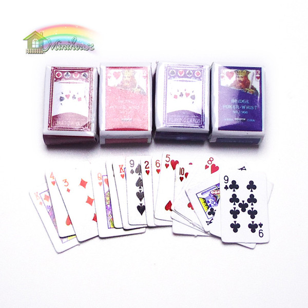 best selling 1:12 Miniature Games Poker Playing Cards 2 Sets in 1 Pack Dollhouse Decoration Accessories