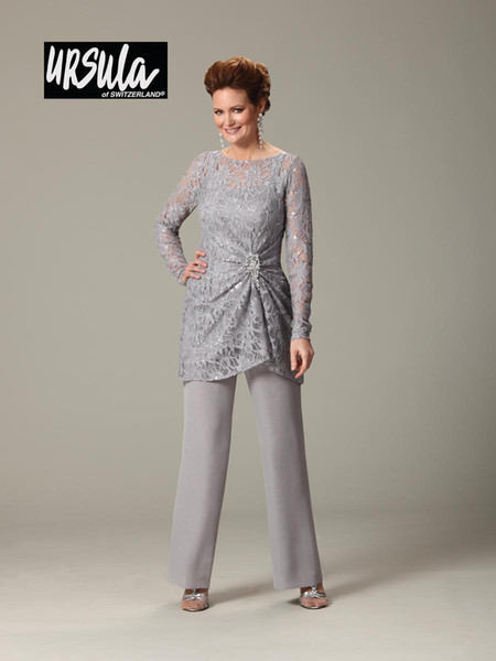Mother of the Bride Lace Pant Suits Plus Size Scoop Ruched Long Sleeve Lady Bride Mother Formal Evening Party Pant Suits for Wedding