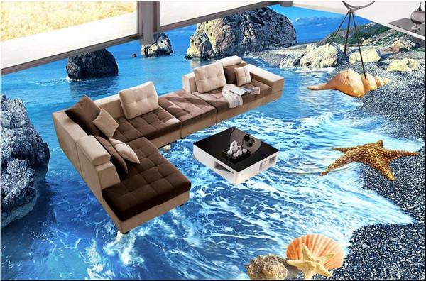 Sea world floor outdoor painting 3d pvc floor wallpaper for bathroom