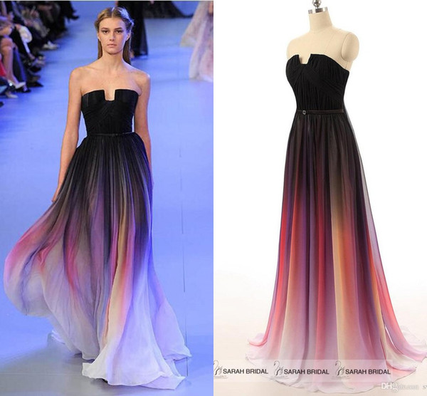 best selling Elie Saab 2019 Long Party Maxi Dress Sexy Gradient Color Ombre Strapless Backless Chiffon Cheap Evening Gowns Bridesmaid Prom Dresses