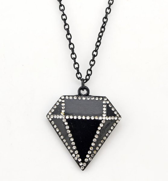 Fashion Trendy Rhinestone Black Diamond-shaped Pendant Necklace Sweater Long Chain Necklaces Jewelry Wholesale 10 Pcs