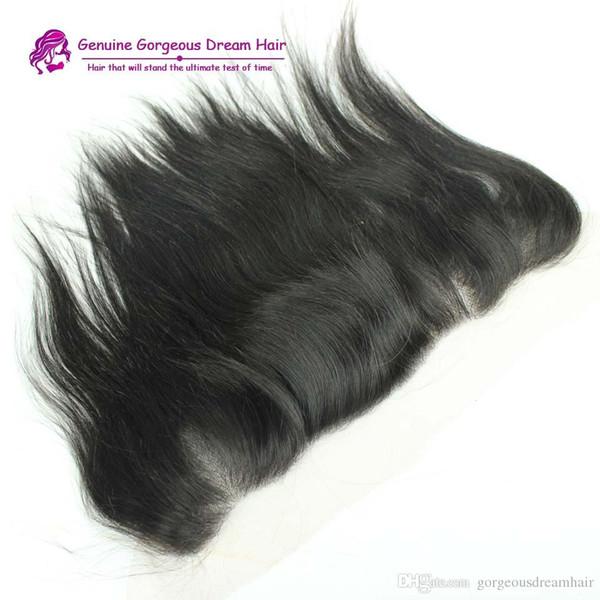 Топ кружева фронтальная закрытие бразильский перуанский малайзийский Индийский человеческих волос натуральный черный цвет шелк прямой 13 * 4 Размер уха до уха закрытия