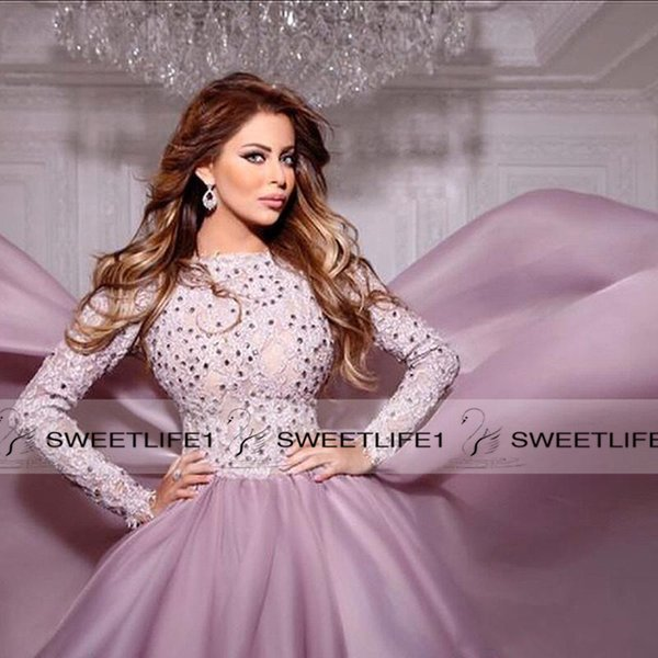 High Neck Beaded Arabic Evening Prom Dresses 2019 Fall Long Sleeves Tiered Muslim Long Formal Evening Party Dresses Custom Made Fashion
