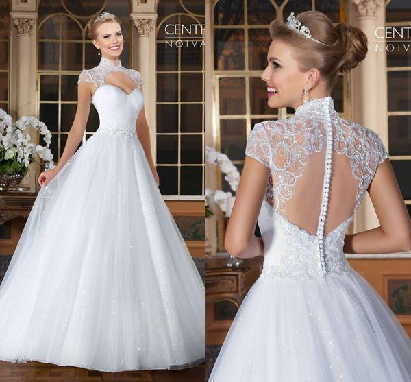 2016 Vestidos De Noiva romantische Applikationen Spitze Brautkleider Vintage Kurzen Ärmeln Eine Linie Brautkleid Brautkleider Sheer Zurück