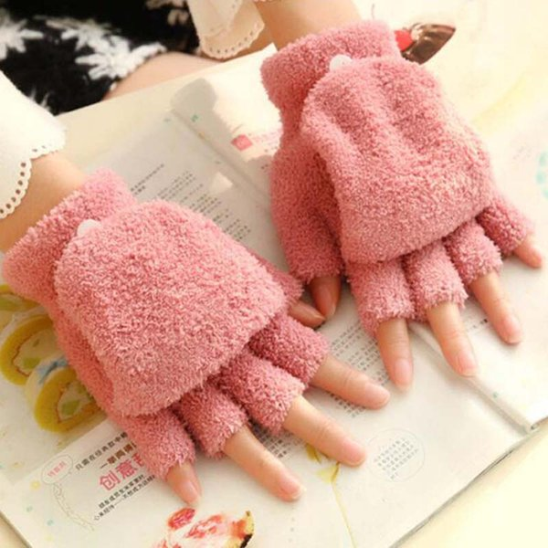 Winter Warm Men Women Gloves Cute Half Finger Turn Over Flip Knitted Mittens Hot Sale 6 Colors Gloves Without Fingers