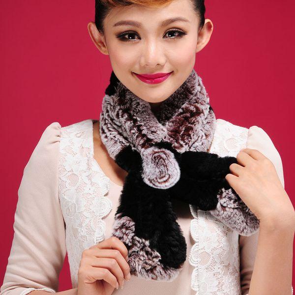 Elegant Women's Rabbit Fur Scarves Rose Design Girls Natural Fur Wraps Winter Soft Neckerchief Muffler 8 Colors Free Shipping