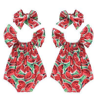 Bebé recién nacido bebés niñas sandía imprimir encaje sin mangas mameluco diadema 2PCS ropa para niños traje mono traje traje de sol