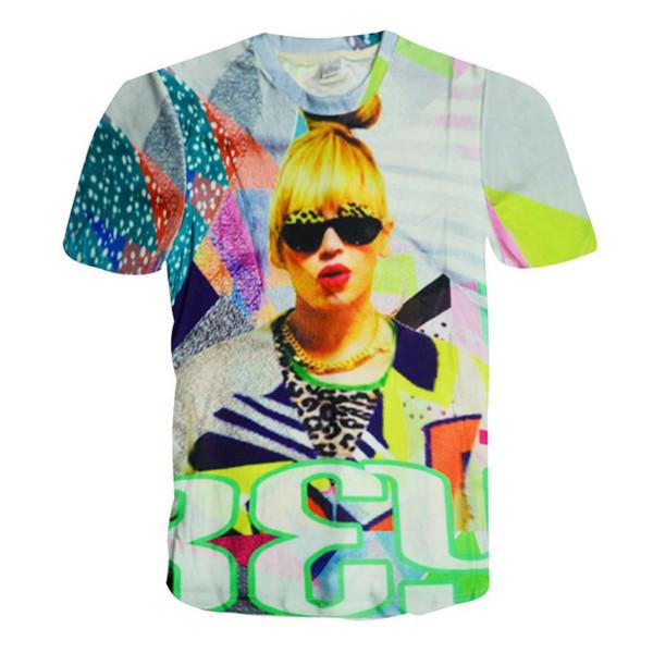 w1208 Alisister 2015 new fashion women punk t shirt beyonce top womens harajuku tee shirt summer style sexy 3d Character t-shirt tops