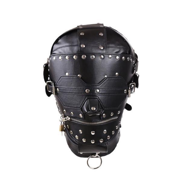 Kalite Hood Maske Seks Ürünleri PU Deri BDSM Esaret Maske SM Tamamen Kapalı Hood Seks Ürünleri Köle Seks Oyuncakları Sınırlamalar